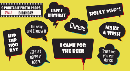 Adult birthday party photo booth props vector elements. Illustration with speech bubbles with quotes for taking funny pictures Иллюстрация