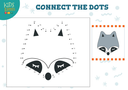 Connect the dots kids game vector illustration. Preschool children education activity with joining dot to dot and coloring raccoon head