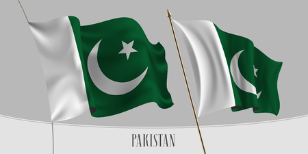 Set of Pakistan waving flag on isolated background vector illustration. Green, white stripes of Pakistani wavy realistic flag as a patriotic symbol  イラスト・ベクター素材