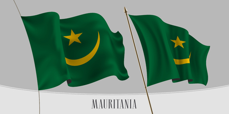 Set of Mauritania waving flag on isolated background vector illustration. Green yellow colors of Mauritanian wavy horizontal realistic flag on pole mockup Illusztráció