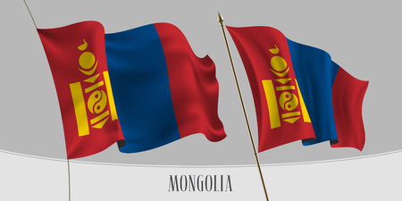 Set of Mongolia waving flag on isolated background vector illustration. Stripes and ornament of Mongolian wavy horizontal realistic flag on pole mockup