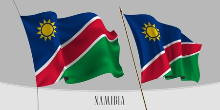 Set of Namibia waving flag on isolated background vector illustration. Green, blue and sun of Namibian wavy horizontal realistic flag on pole mockup