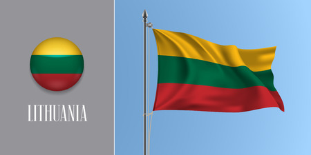 Lithuania waving flag on flagpole and round icon vector illustration