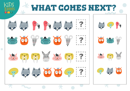 What comes next kids educational game vector illustration. Activity for logic development with raccoon, flamingo, owl Ilustración de vector