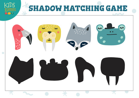 Set for find the correct shadow educational preschool kids activity. Vector illustration with cute animals for shadow matching game