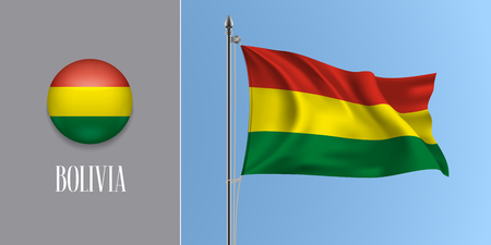 Bolivia waving flag on flagpole and round icon vector illustration. Imagens - 118920810