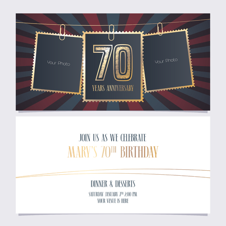 70 years anniversary party invitation vector template. Illustration with photo frames for 70th birthday card, invite