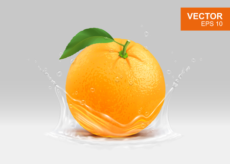 Whole yellow orange with water splash realistic 3D design element. Vitamin and fruits concept illustration