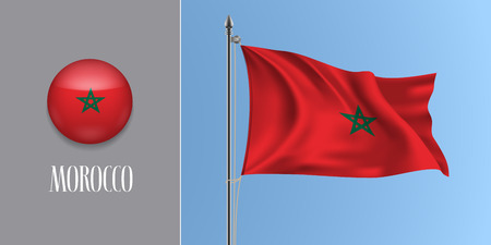Morocco waving flag on flagpole and round icon vector illustration