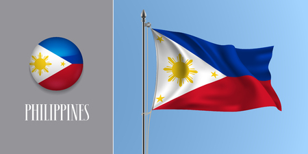 Philippines waving flag on flagpole and round icon vector illustration. Realistic 3d mockup of white red Pilipino flag and circle button Standard-Bild - 124931217