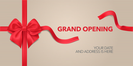 Grand opening vector background. Red ribbon and bow design element for poster or banner for opening event Stock Illustratie