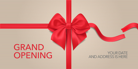 Grand opening vector illustration, background. Design element with red ribbon and bow for opening ceremony Ilustrace