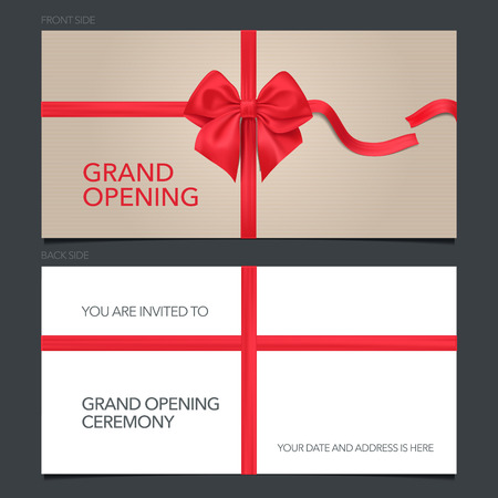 Grand opening vector illustration, invitation card. Template invite with red bow to ribbon cutting ceremony with body copy
