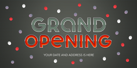 Grand opening vector illustration, banner. Template design element, background for opening event Ilustrace