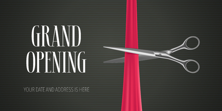 Grand opening vector banner, illustration. Nonstandard design element with scissors for red ribbon cutting for opening ceremony