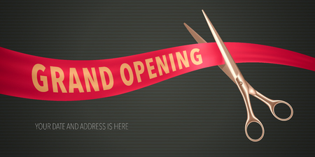 Grand opening vector illustration, banner. Design element with elegant scissors and red ribbon for opening ceremony Ilustrace