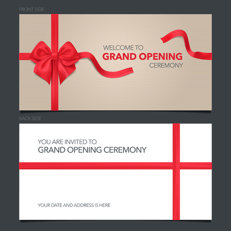 Grand opening vector illustration, invitation card. Template banner, invite with red ribbon for opening event