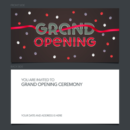 Grand opening vector illustration, invitation card for new store. Template banner, invite for opening event, red ribbon cutting ceremony