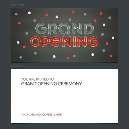 Grand opening vector banner, invitation card. Template festive invite design Standard-Bild - 124784153