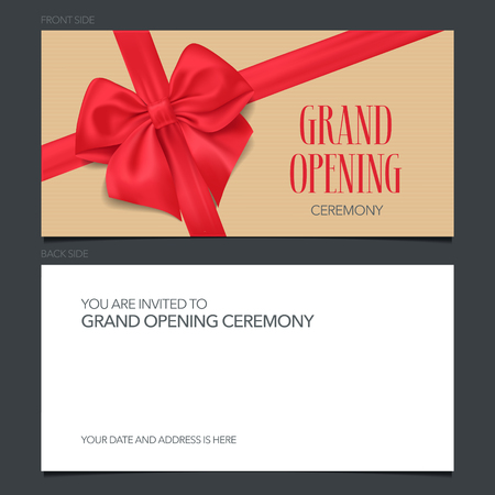 Grand opening banner vector invitation card. Template invite design for opening ceremony with text Ilustrace