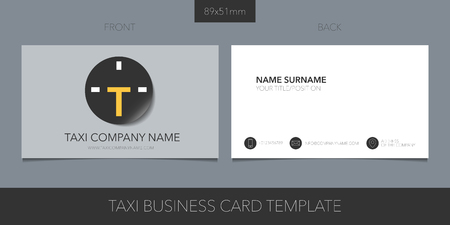 Taxi, cab vector business card with logo, icon and blank contact details, name Vectores