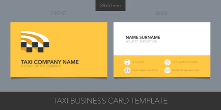 Taxi, cab vector business card layout. Template contact information and logo