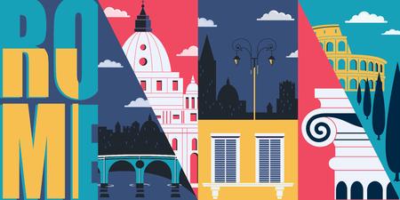 Rome, Italy vector skyline illustration, postcard. Travel to Rome modern flat graphic design Vettoriali
