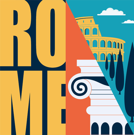 Rome, Italy vector illustration, postcard. Travel to Rome modern flat graphic design element with Italian landmarks and architecture - Colosseum, column