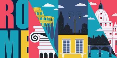 Rome, Italy vector banner, illustration. Cityscape, historical landmarks in modern flat design style. Close up of Italian architecture