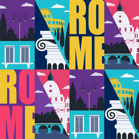 Rome, Italy vector seamless pattern. Travel to Rome modern flat graphic design element with Italian landmarks - Colosseum, cathedral, city views in repeated ornament Ilustração
