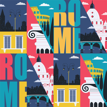 Rome, Italy vector seamless pattern. Cityscape, historical landmarks in modern flat design style. Italian architecture background, wallpaper
