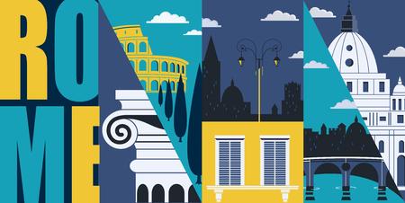 Rome, Italy vector banner, illustration. City skyline, historical buildings in modern flat design style. Italian and Roman landmarks