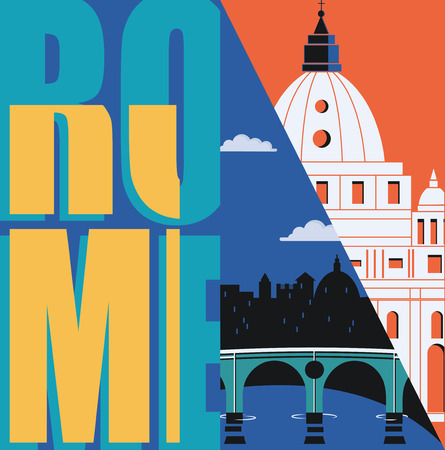 Rome, Italy vector banner, illustration. City skyline, St Pete in modern flat design style. Italian ancient landmarks in travel to Rome concept image Ilustrace