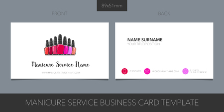 Nail salon, manicure vector business card with logo, icon and template Logo