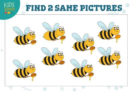 Find two same pictures kids game vector illustration