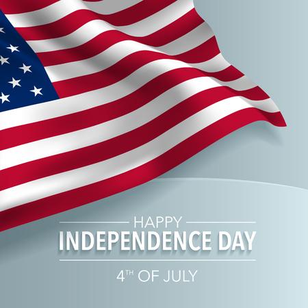 Carte de voeux joyeuse fête de l'indépendance des États-Unis, bannière, illustration vectorielle. Fond de la fête nationale américaine du 4 juillet avec des éléments de drapeau, format carré Vecteurs