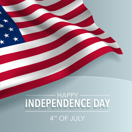 USA happy independence day greeting card, banner, vector illustration. American national day 4th of July background with elements of flag, square format Vektorové ilustrace