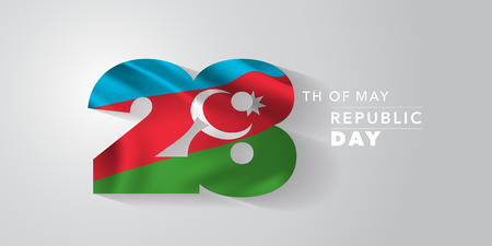 Azerbaijan happy republic day greeting card, banner, vector illustration. Azerbaijani national day 28th of May background with elements of flag Ilustração