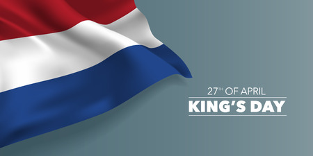 Netherlands happy King's day greeting card, banner with template text vector illustration. Dutch memorial holiday 27th of April design element with tricolor