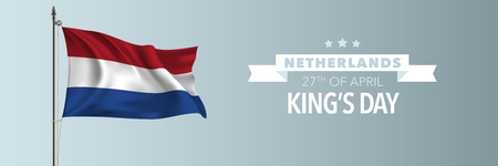 Netherlands happy Kings day greeting card, banner vector illustration Çizim