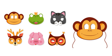 Mask of animals for kids birthday or costume party vector illustrations. Collection of cute zoo animals heads for photo booth icons. Monkey, owl portraits