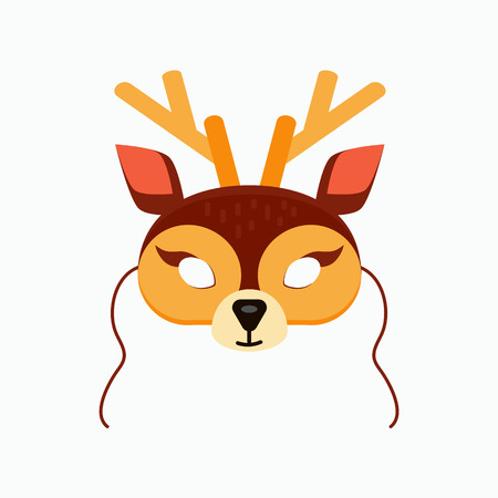 Mask of reindeer animal for kids birthday or costume party vector illustrations. Cute cartoon head for photo booth printable icons