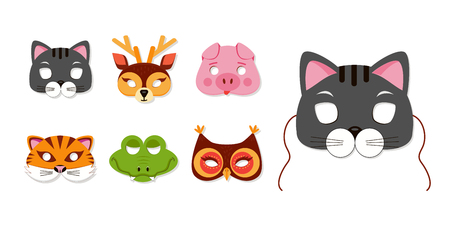 Mask of animals for kids birthday or costume party vector illustrations. Set of cute animals heads for photo booth accessories. Cat, tiger portraits