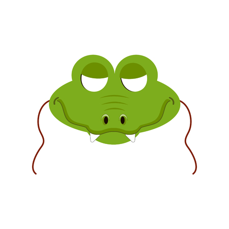 Mask of crocodile animal for kids birthday or costume party vector illustrations. Cute cartoon head for photo booth printable icons