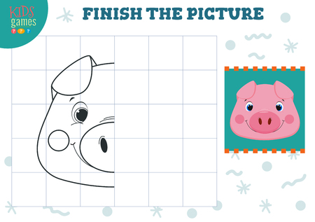Copy picture vector illustration. Complete and coloring game for preschool and school kids. Cute little pig outline for drawing and learning activity