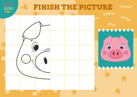 Copy and complete picture vector illustration. How to draw mini game for preschool kids