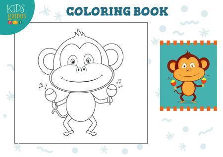 Copie y coloree la ilustración de vector de imagen, ejercicio. Mono de divertidos dibujos animados