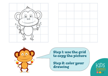 Copy and color picture vector illustration, exercise