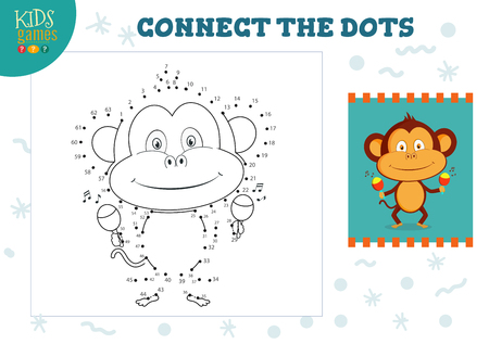 Connect the dots kids mini game vector illustration