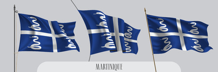 Set of Martinique waving flag on isolated background vector illustration